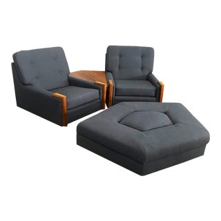 Pair of Glider Lounge Chairs, Walnut Side Table, & Ottoman With New Upholstery by Martin Borenstein For Sale
