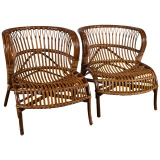Pair of Albini Rattan Lounge Chairs For Sale