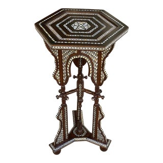 Antique Mother of Pearl Inlaid End Table For Sale
