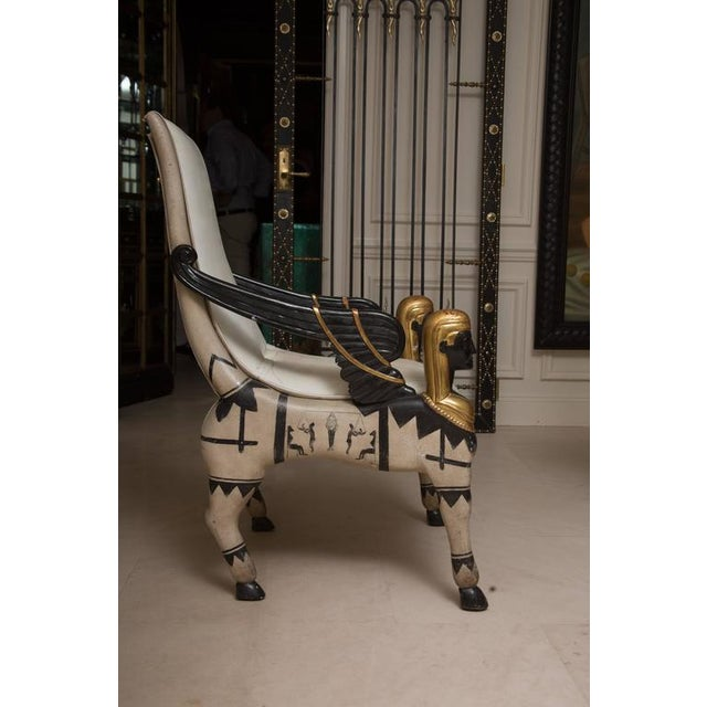 Egyptian Revival Mid 20th Century Pair of Painted and Parcel Gilt Bugatti Style Armchairs For Sale - Image 3 of 10