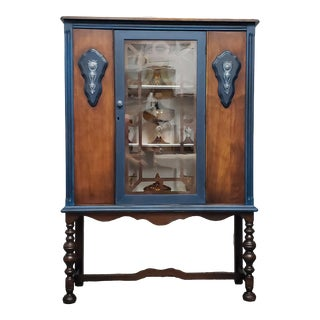 1930s Jacobean Style Display Cabinet For Sale