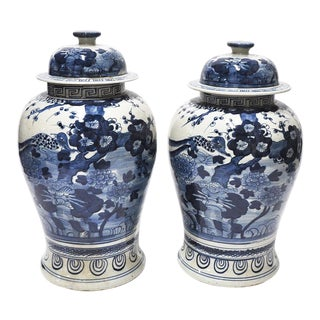 Pair of Blue & White Chinoiserie Jars W Lids For Sale