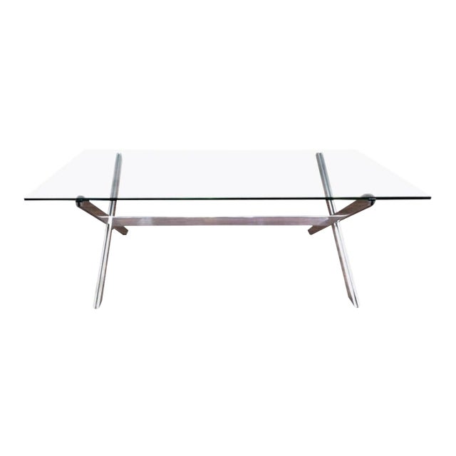 Rare Large Aluminum & Glass Floating X-base Table by John Vesey For Sale