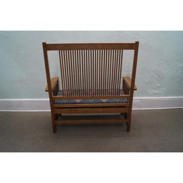 Stickley Mission Oak High Spindle Back Settee - Image 4 of 10
