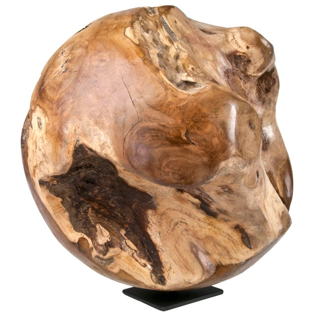 Indonesian Teak Wood Root Ball On Stand - Image 3 of 4