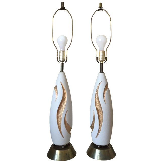Eames Era Atomic Pottery Boomerang Lamps - Pair - Image 1 of 4