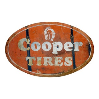Antique Double Sided Cooper Tires Tin Sign For Sale
