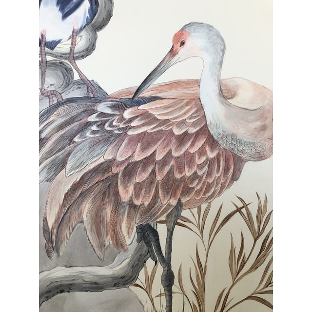 """Wood Chinoiserie Style Bird Painting, """"Long Time No Sea"""" For Sale - Image 7 of 8"""