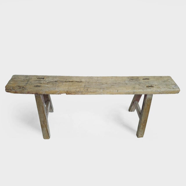Vintage elm Mongolian work bench. Interesting signs of age and use. Useful narrow size makes a great addition to any room.