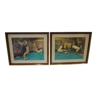 1920s Vintage Bernard Leemker Pool Table Engravings - a Pair For Sale
