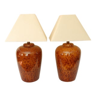 Mid-Century Brown Patterned Table Lamps - A Pair