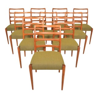 Danish Modern Ladderback Dining Chairs in Teak - Set of 10 For Sale