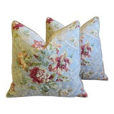 """Image of French Floral Linen & Velvet Feather/Down Pillows 24"""" Square - Pair For Sale"""