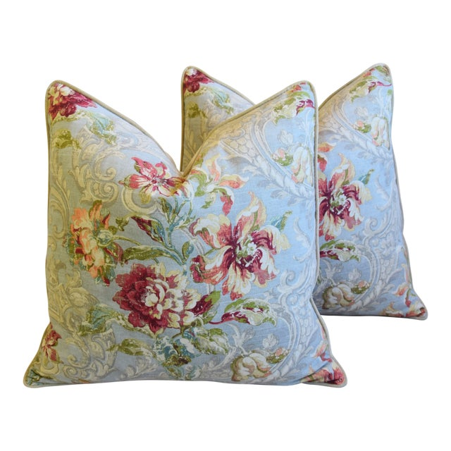 "French Floral Linen & Velvet Feather/Down Pillows 24"" Square - Pair For Sale"
