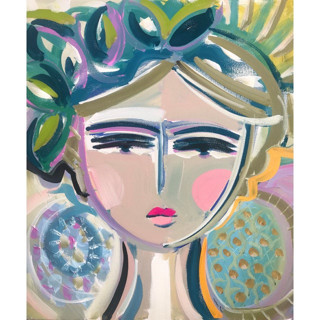 """Maren Devine Original Portrait Painting by Maren Devine """"Leah"""" For Sale - Image 4 of 4"""