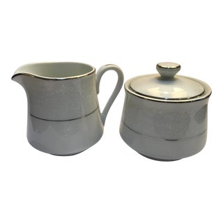 Vintage Carlton Pandora Porcelain Sugar Bowl & Creamer For Sale