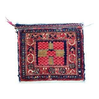 Vintage Mid-Century Semi Antique Small Kurdish Storage Bag / Rug - 1′2″ × 1′4″ For Sale