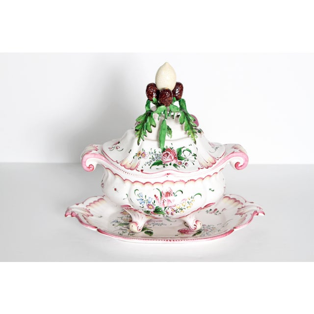 A Large French Faience Tureen With Platter For Sale In Dallas - Image 6 of 11