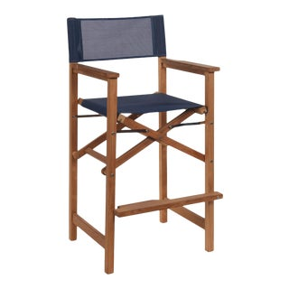 Captain Bar Foldable Teak Outdoor Bar Stool with Arms and a Blue Textilene Fabric For Sale