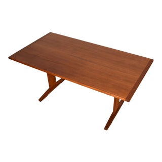 Danish Modern Teak Trestle Dining Table / Desk For Sale