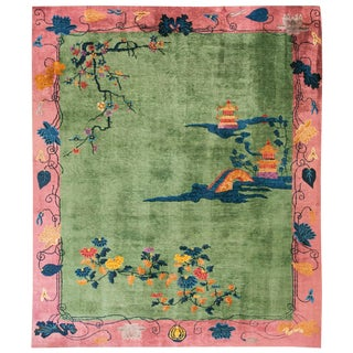 Antique Chinese Art Deco Rug- 8′ × 9′6″ For Sale