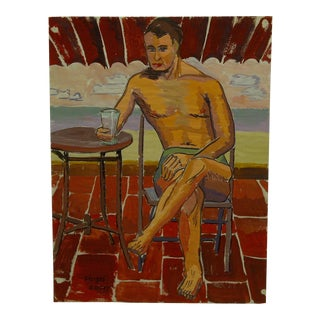 "1947 Mid-Century Modern Original Painting on Paper, ""Dandy Poolside in Bathing Suit"" by Tom Sturges Jr"