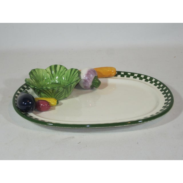 1980s Serving Platter With Applied Vegetables and Bowl For Sale - Image 5 of 6