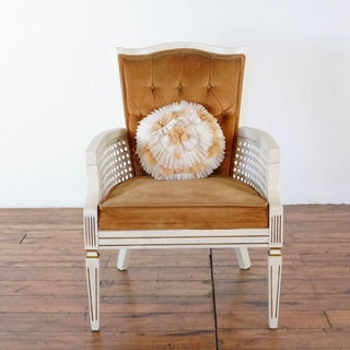 White Wooden Cane Armchair Preview