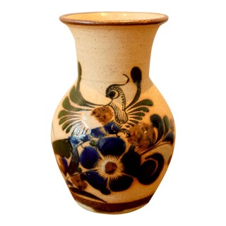 Hand Painted Mexican Studio Pottery Ceramic Vessel For Sale