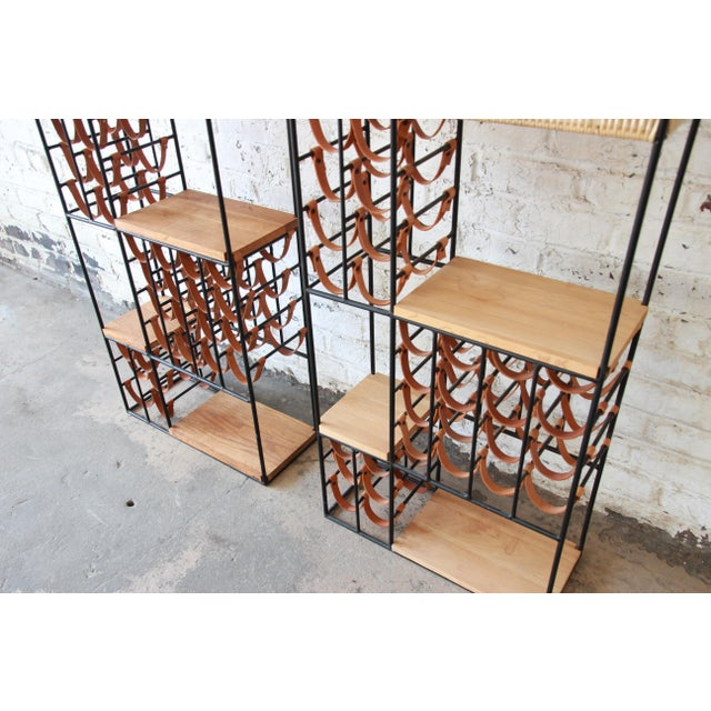 1950s Arthur Umanoff Mid-Century Modern Leather and Iron 40-Bottle Wine Rack, Two Available For Sale - Image 5 of 13
