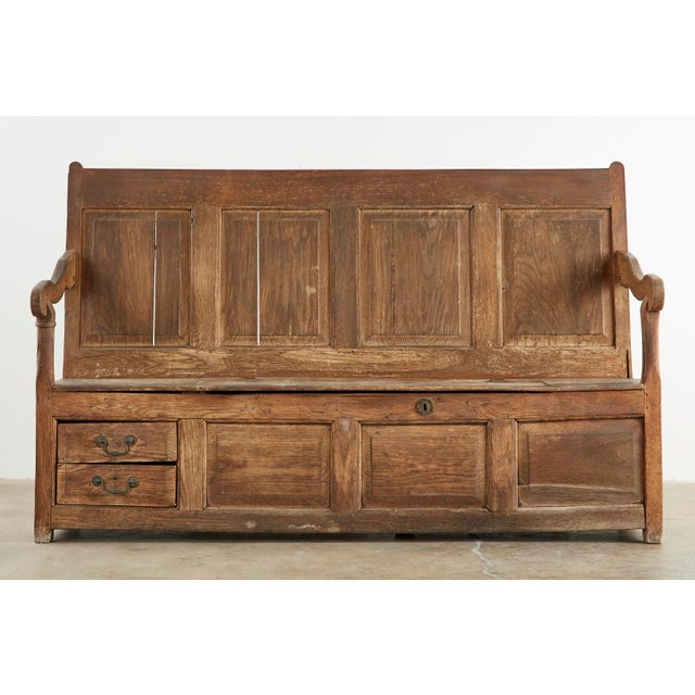 English 19th Century English Georgian Oak Box Settle Bench For Sale - Image 3 of 13