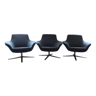 Charcoal Gray Coalesse Bob Swivel Chairs - Set of 3 For Sale