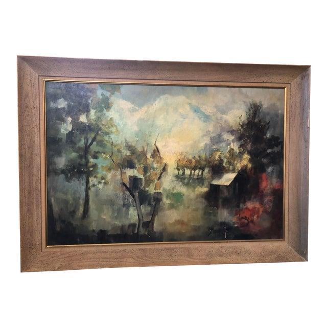 1950s Vintage Framed Rural Mountain Home Landscape Painting For Sale
