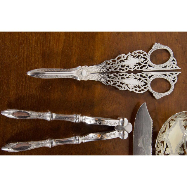 Exquisite Early Victorian Silver Plate Flatware Set for Dessert, Fruit and Nuts For Sale - Image 10 of 11