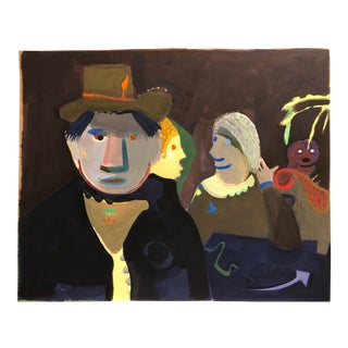 "1960s Howard Margolis Gouache Painting ""Man With Ladies"" For Sale"