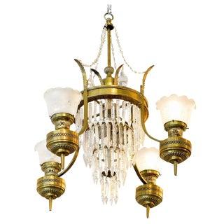 Large Converted Oil Lamp Crystal Chandelier For Sale