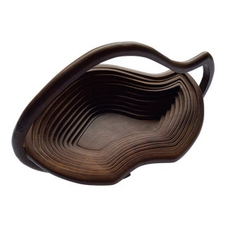 1960s Vintage Abstract Folk Art Wood Handled Collapsible Basket For Sale