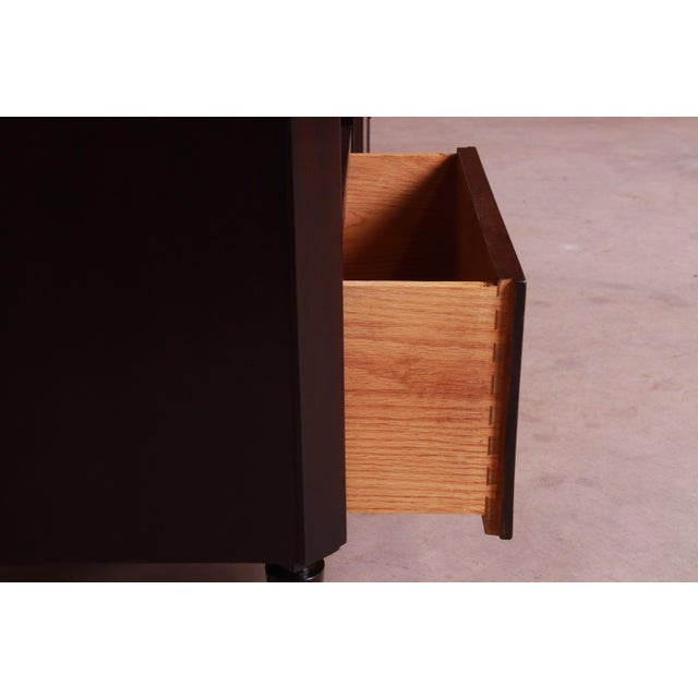 Robsjohn-Gibbings for Widdicomb Mid-Century Modern Walnut Nightstands, Newly Refinished For Sale - Image 9 of 13