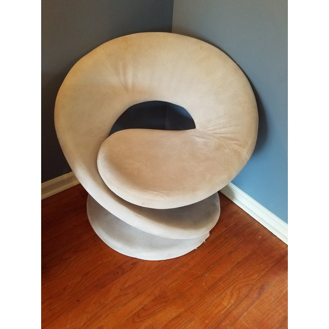 Fabric Sculptural Spiral Lounge Chair After Louis Durot For Sale - Image 7 of 9