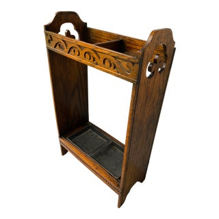 Early 20th Century French Oak Umbrella Cane Stand For Sale