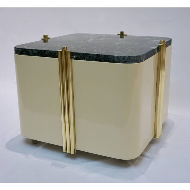 1970s Italian Cream White Lacquered & Green Marble Side Tables or Stools - a Pair For Sale In New York - Image 6 of 10