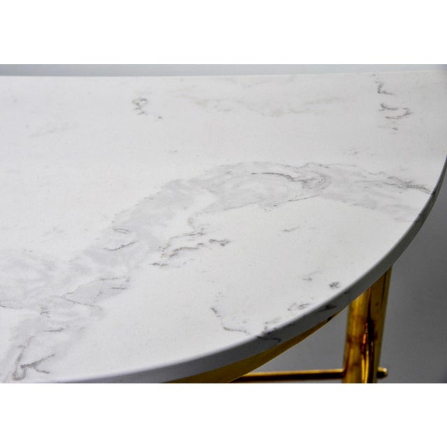 Mid Century Italian Brass Demilune Console With White Marble Top For Sale - Image 9 of 12