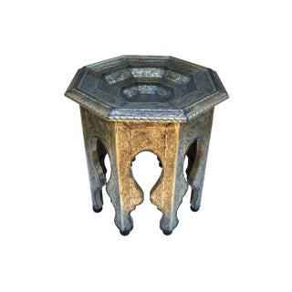 Engraved Glass-Top Moroccan Table For Sale