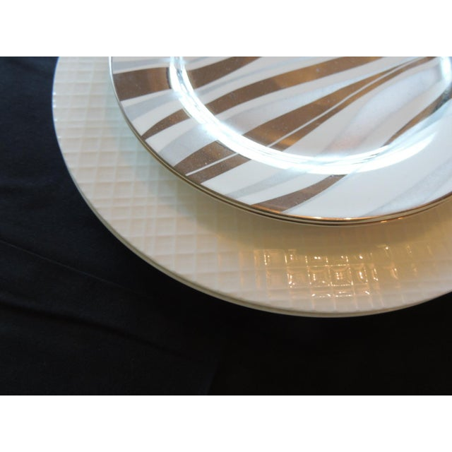 Set of (4) Gold and White Porcelain Plates Set of four plates two dinner and two dessert plates White faux basket weave...