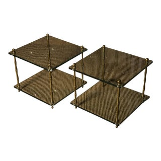 Glass & Brass Faux Bamboo Occasional Tables - a Pair For Sale