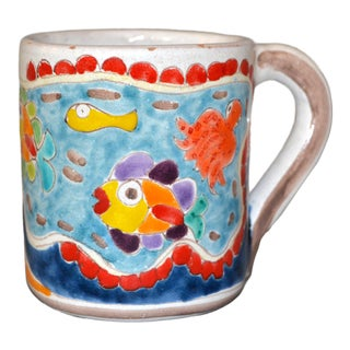 Italian Giovanni Desimone Hand Painted Art Pottery Decor Mug, Cup Fish Family For Sale