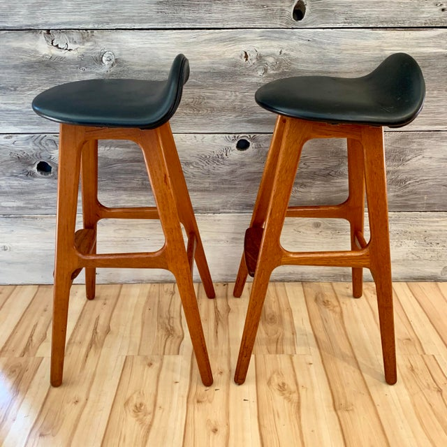 1960s Erik Buch Danish Modern Teak Bar Stools - a Pair For Sale - Image 5 of 13