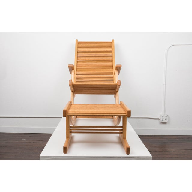 1980s Stephen Hynson Oak Dowel Rocking Chair and Ottoman For Sale - Image 4 of 9