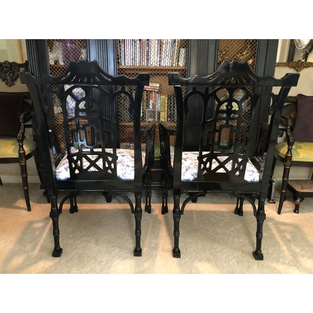 Faux Bamboo Pagoda Armchairs- A Pair For Sale - Image 11 of 12
