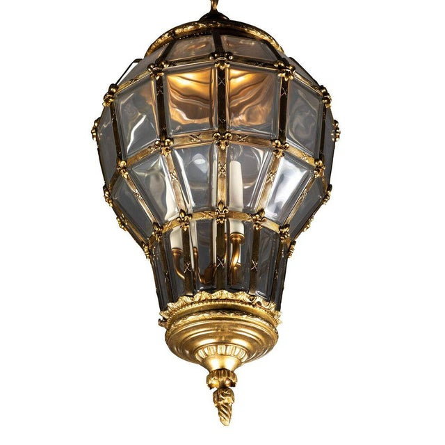 Gilt Hanging Lantern With Ceiling Escutcheon For Sale In Los Angeles - Image 6 of 10